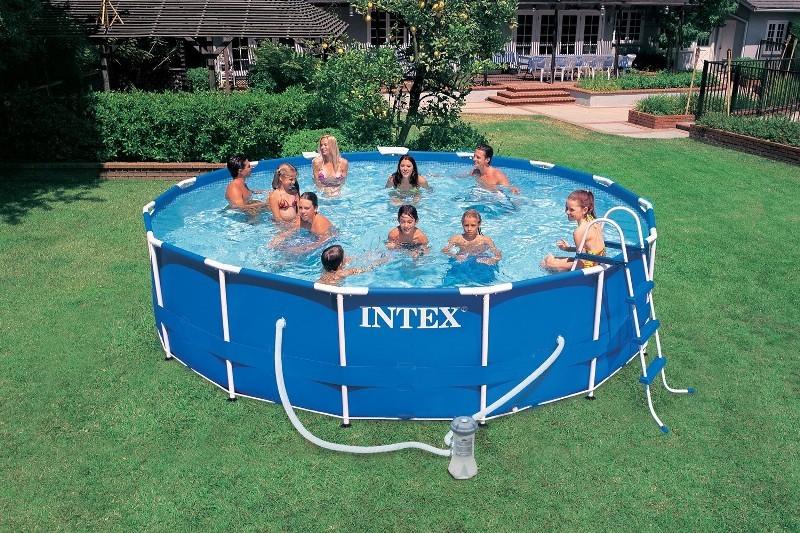 Intex metal frame pool set 457x84 28228gn for Gunstige poolsets